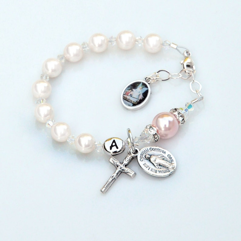 60a2b40cf03c8 Baptism Gift for a Girl - Personalized White and Pink Swarovski Crystal  Guardian Angel Rosary Bracelet - Catholic Christening Gift