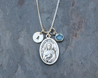 Saint St Catherine of Siena Necklace - Personalized Initial, Swarovski Crystal Birthstone or Pearl - Patron Saint of Miscarriages and Nurses