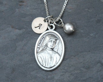 Saint St Faustina Necklace - Personalized Initial - Swarovski Crystal Birthstone or Pearl - Divine Mercy