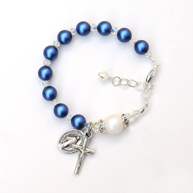 d4c560bb8e267 Baptism Gift for Baby Boy - Swarovski Crystal Rosary Bracelet -Iridescent  Dark Blue and White Pearls -Personalized Catholic Christening Gift