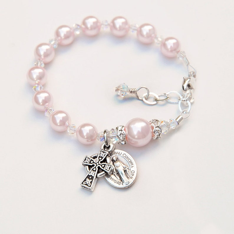 929f4e7704950 Celtic Baptism Gift for Baby Girls - Pink Rosary Bracelet - Swarovski  Pearls Sparkly Crystals - Personalized Irish Catholic Christening Gift