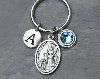 Guardian Angel Keychain - Personalized Letter - Swarovski Crystal Birthstone - Key Chain Gift for Women or Men