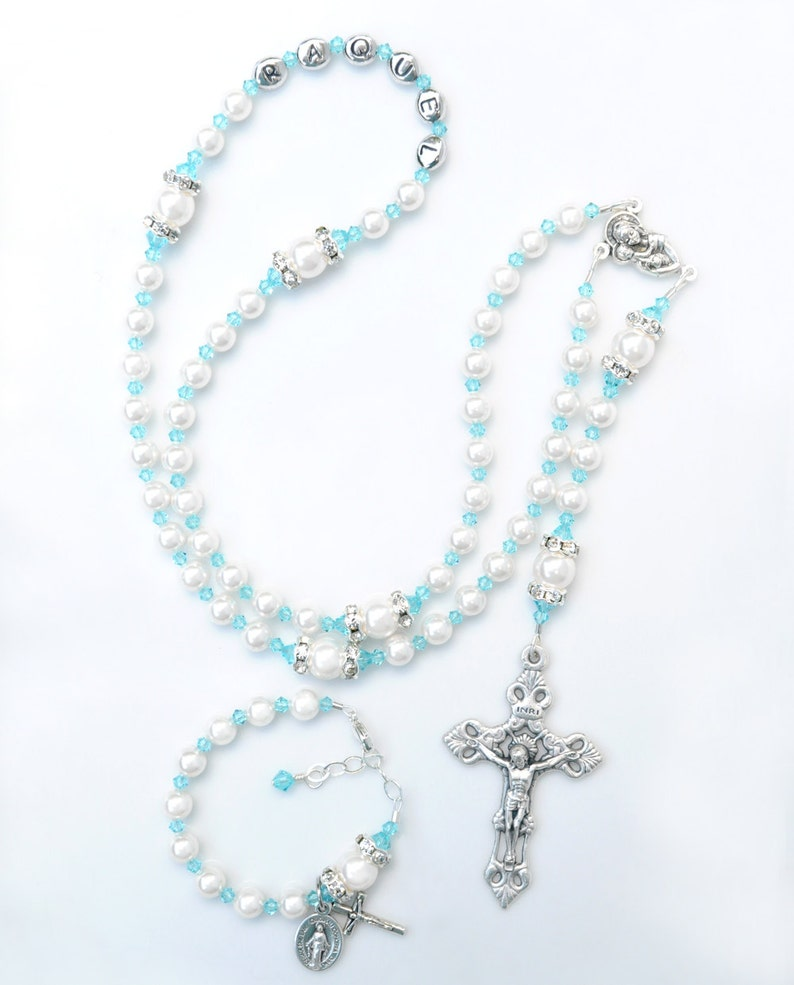 2ee7cd0ee Baptism Gift for Girl Swarovski Crystal Rosary and Baby   Etsy