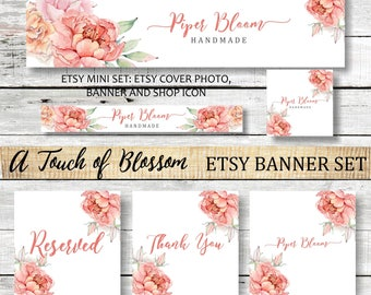 Etsy Banner Peonies Floral Rustic Flowers Pink Peach Watercolor Facebook Business Card Website Shop