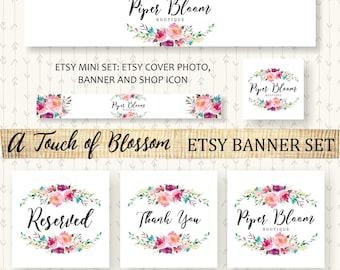 Etsy Banner Rustic Floral Flowers Peonies Wreath Pink Watercolor Facebook Business Card Website Shop Custom Handmade BS004