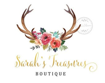 Premade Logo Antlers Boho Deer Floral Rustic Peonies Gold Flowers Custom Shop Business Card Branding Design Wedding Signs LD003