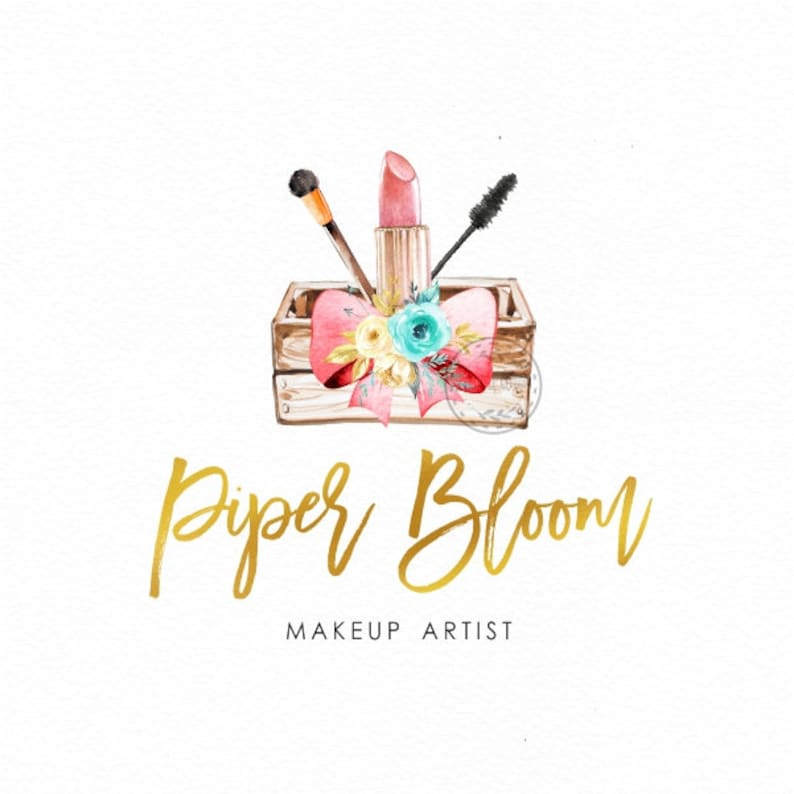 cc276e548185c Makeup Premade Logo Beautician Logo Make up Artist Lipstick Brush Salon  Logo Watercolor Custom Shop Logo Business Card Branding Design LD410