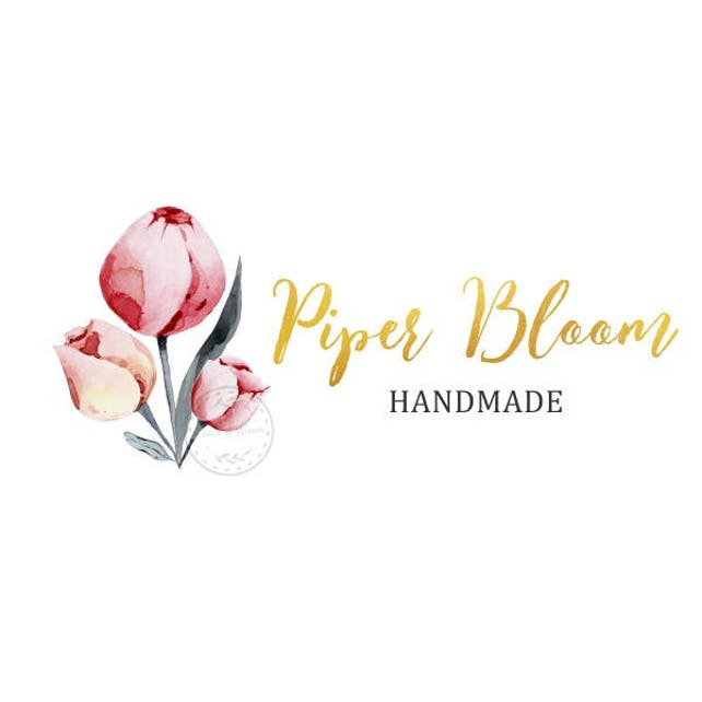 Premade Logo Peonies Rustic Flowers Floral Gold Watercolor Script Custom Logo Business Card Branding Design Shop Logo Wedding Signs LD250