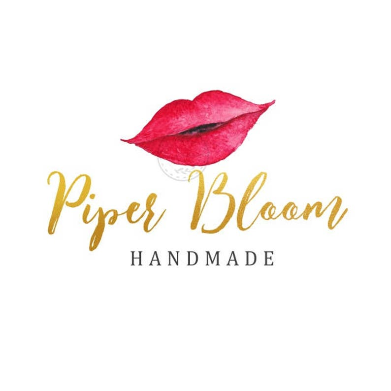 b73a7d959d6e5 Premade Logo Lips Red Gold Bold Makeup Artist Lipstick Modern Gold Custom  Shop Logo Business Card Branding Design Wedding Signs LD171