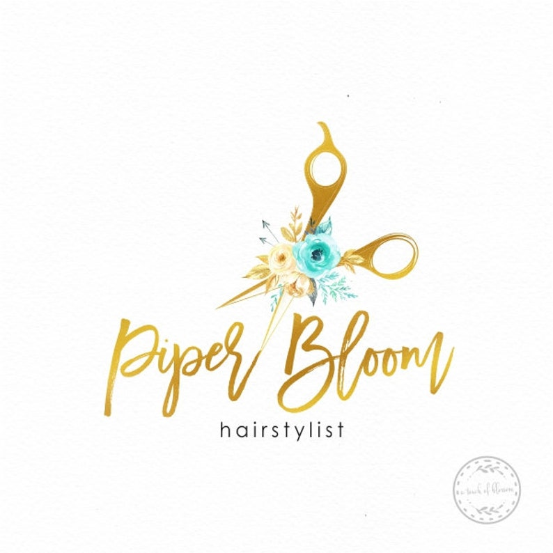 d4b60bbf4e487 Hairstylist Premade Logo Scissors Logo Hair Logo Salon Logo Woman Hair Gold  Watercolor Custom Shop Logo Business Card Branding Design LD409