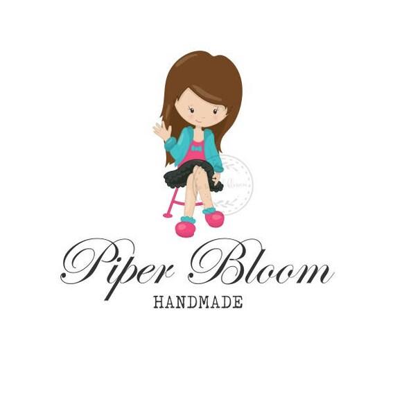 Premade Logo Girl on a Chair Fashion Hair Accessories Handmade Custom Shop Logo Business Card Branding Design Wedding Signs LD235