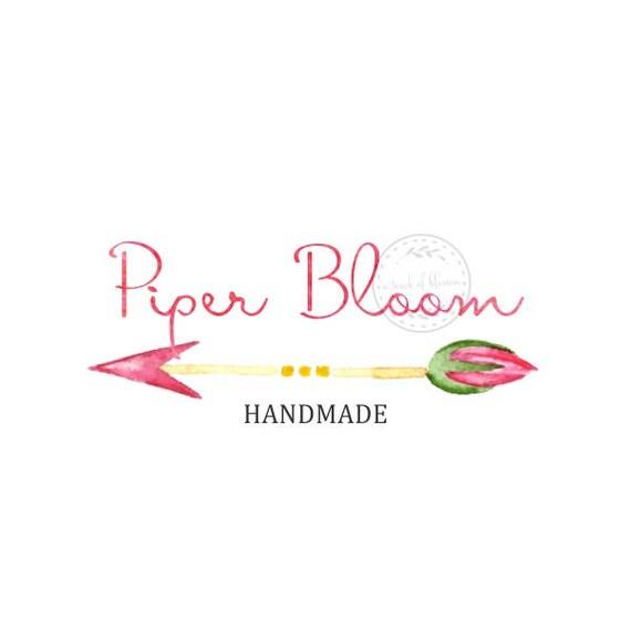 Premade Logo Boho Arrow Rustic Floral Peonies Watercolor Script Modern Custom Shop Logo Business Card Branding Design Wedding Signs LD263