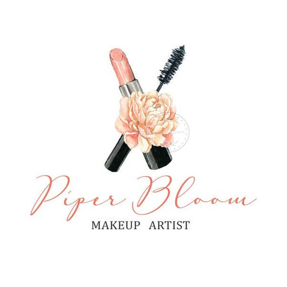 17d89e28bd771 Premade Logo Makeup Brush Mascara Lipstick Bold Makeup Artist Custom Shop  Logo Business Card Branding Design Wedding Signs LD261