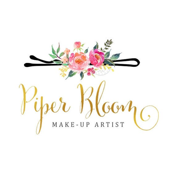 81324ec19a9eb Premade Logo Hair Pin Hair Stylist Floral Gold Makeup Artist Modern Gold  Custom Shop Logo Business Card Branding Design Wedding Signs LD141