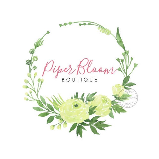 Peonies Premade Logo Watercolor Green Flowers Floral Script Custom Logo Business Card Branding Design Shop Business Logo Wedding Signs LD364