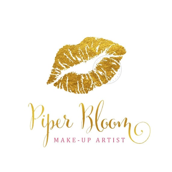 28dd1f54918be Premade Logo Lips Gold Bold Makeup Artist Lipstick Modern Gold Custom Shop  Logo Business Card Branding Design Wedding Signs LD134