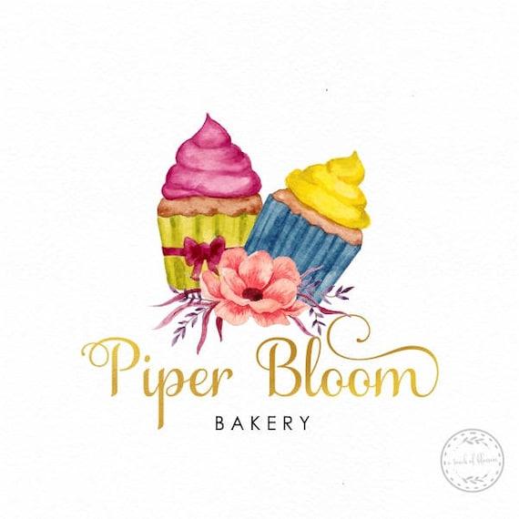 Premade Logo Cupcake Boulangerie Chef Gateau Desert Cup Cake Enfants Anniversaire Handmade Custom Shop Carte De Visite Branding Design LD385