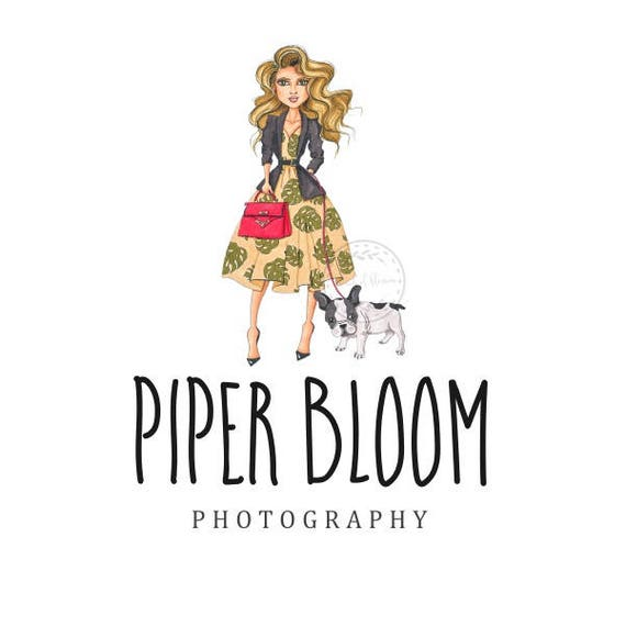 Premade Logo Woman Girl Fashion Dog Puppy Clothes Hair Handbag Handmade Custom Shop Logo Business Card Branding Design Wedding Signs LD157