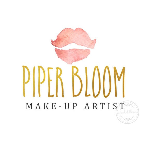 ea4a85bc6a827 Premade Logo Lips Gold Bold Makeup Artist Lipstick Modern Gold Custom Shop  Logo Business Card Branding Design Wedding Signs LD138