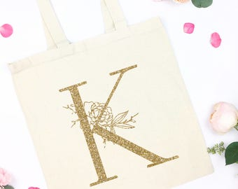 floral initial canvas tote