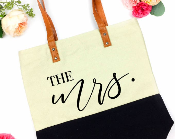 Featured listing image: mrs bag - wifey tote - the bride tote - Future Mrs tote - Bride tote - Bride to be tote - Bachelorette - Wedding Tote Bag - future mrs bag