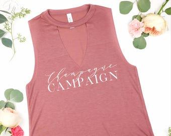 Champagne Campaign Cut Neck Tank