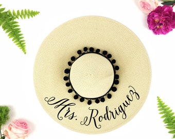 Custom Mrs Hat - Sequin Sun Hat - Bride Hat - Pom Beach hat - Custom floppy hat - Bride to be hat - Beach Bride - Just Married Hat-Honeymoon