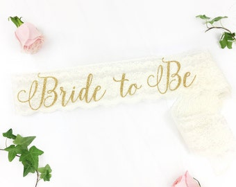Bride to be Lace sash