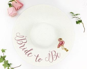 Bride to Be Hat - Floppy Sat - Sequin Sun Hat - Custom floppy hat- Beach Bride - Just Married Hat - lets flaminge - flamingo bachelorette