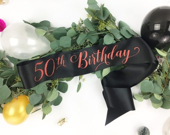 50th birthday sash - 50 Fifty and fabulous Birthday Sash - Birthday Girl Sash - Custom Birthday Sash - 40th birthday sash - 60th birthday