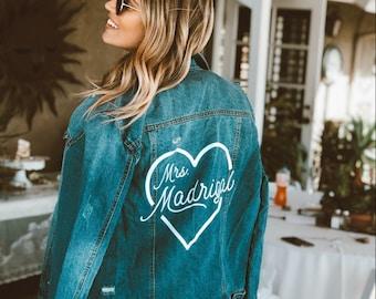 Personalized Mrs Denim Jacket, Mrs Jean Jacket, Custom Bride Jacket, Custom Denim, Mrs Jacket, Custom Jacket, Custom Denim Bride Jacket