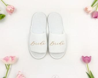 Bride Slipper, Bridesmaid Slipper, Mrs. Gift, Bridal Shower Gift, Bridal Slippers, Wedding Slippers, Bridesmaid Gift, Wedding Accessories