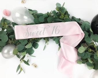 Sweet 16 Sash. 16th Birthday Sash. Custom Birthday Sash. Sweet Sixteen Sash. 16 Birthday Sash. Sweet 16. Sweet Sixteen.