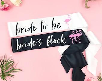 Flamingo Bachelorette Party - Lets Flamingle - Custom Bachelorette Bridal Party Sash Pack - bridesmaid sash- Bachelorette Sash -GROUP SASHES