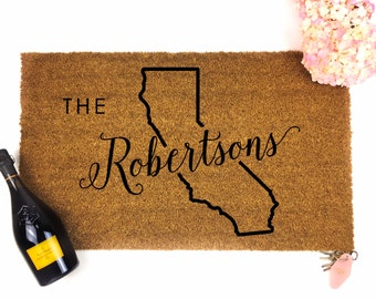 Custom Last Name Doormat - California gift- Custom Doormat - Personalized Doormat- Custom Mat - Wedding Gift - Housewarming gift - last name
