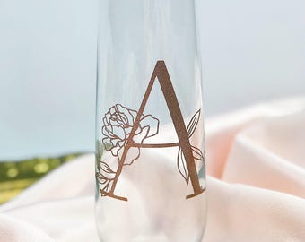 Flower Initial Champagne Flute