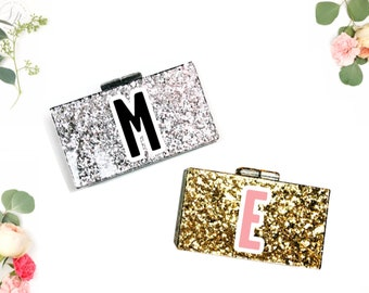 Mrs Clutch, Bride Clutch, Personalized Acrylic Clutch, Box Clutch, Bridal Clutch, Glitter acrylic clutch, Initial clutch, Monogram clutch