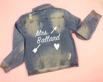 Mrs Denim Jacket, Mrs Jean Jacket, Custom Bride Jacket, Custom Denim, Mrs Jacket, Custom Jacket, Custom Denim Bride Jacket, Jean Jacket