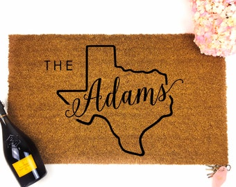 Personalized Texas Family Name Doormat