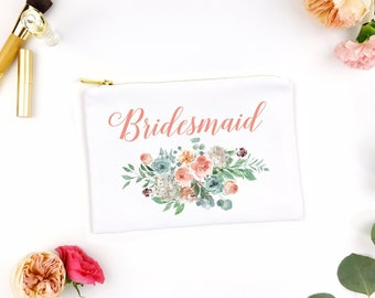 Floral Bridesmaid cosmetic bag