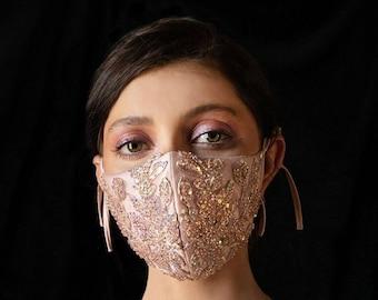 Rose Gold Face Mask - Bride Face Mask - Beaded Mask - Bridal Mask - Sequin Face Mask - Elegant Bride Mask - Champagne bride mask -Pearl mask