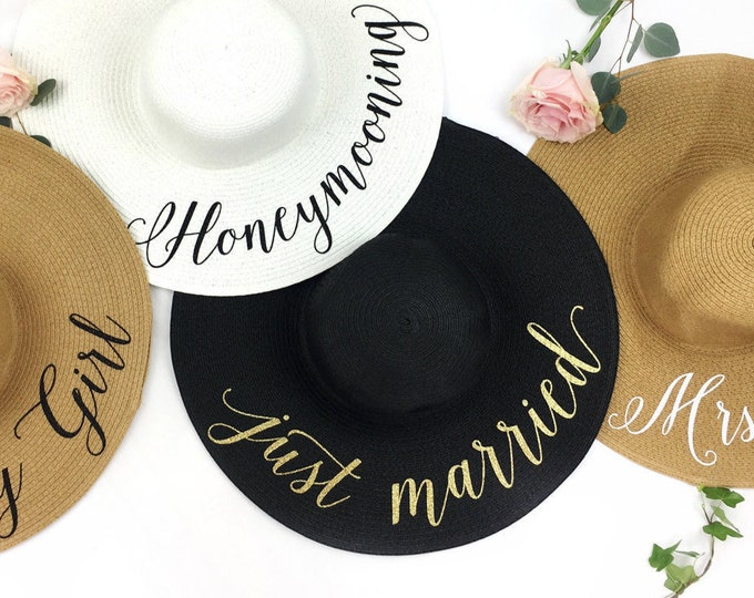 Featured listing image: Sun Hat Group Package - Custom Floppy Hat Pack - Sequin Sun Hat - Beach Bride - Statement Hat -Floppy beach hat -Bachelorette party hat pack