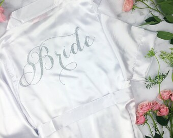 Bride Robe - Wedding Day Robe - Glitter Bridal Robe - Bride Satin  - Lingerie Shower Gift - Bridesmaid Robe -Blush Robe- Maid of Honor Robe