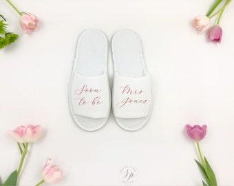 Bridesmaid Slipper, Mrs. Gift, Bridal Shower Gift, Bridal Slippers, Personalized Wedding Slippers, Bridesmaid Gift, Wedding Accessories