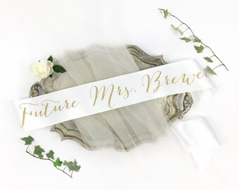 Personalized Future Mrs Sash. Custom Bachelorette Party Sash. Bride Sash. Bachelorette Sash. Bachelorette Party Accessory. Bridal Party Sash