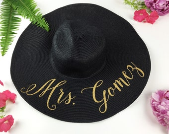 Custom Mrs Hat - Sequin Sun Hat - Bride Hat - Beach hat - Custom floppy hat - Bride to be hat - Beach Bride - Just Married Hat - Honeymoon