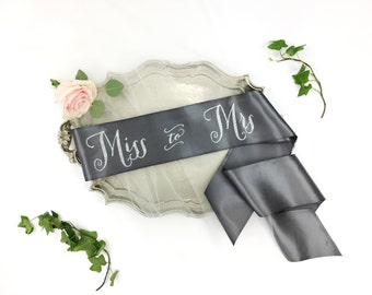 Miss to Mrs Sash - Bride to Be Bachelorette Sash - Bridal Shower Bachelorette Party Accessory - Satin Bride Sash - Bride Gift - Bride Sash