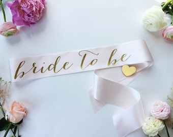 Bride to Be Sash - Bachelorette Sash - Bridal Shower Bachelorette Party Accessory - Satin Sash - Bride Gift - Bride Sash (WITH HEART PIN)