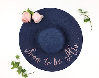 Soon to be Mrs Floppy Sun Hat - Sequin Sun Hat - Bride Hat - personalized hat - Custom hat - Bride to be hat - wifey hat - Just Married hat
