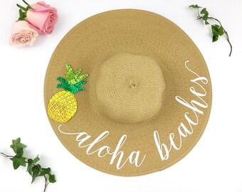 aloha beaches Hat - Floppy Sun Hat - Sequin Sun Hat - Bride Hat - Custom floppy hat- Beach Bride - Just Married Hat - pineapple hat